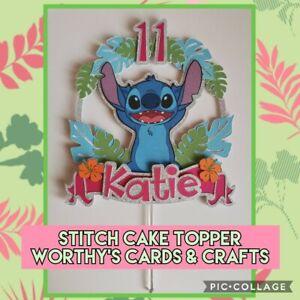 (Lilo) Stitch Personalised Birthday Glitter Card Cake Topper/Pick Layered