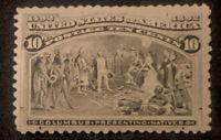 US Stamp Scott #237 Mint OG H 10 Cents 1893 Columbian Black