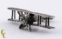 Sterling Silver Dollhouse WWI Miniature Airplane Spinning Propeller and Wheels