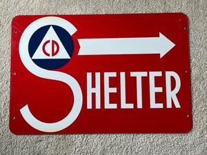 """VINTAGE """" Shelter Sign """" 1950 CD Cold War Era Civil Defense Man Cave or Garage"""