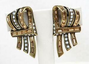Heidi Daus Ribbon Candy Topaz Baguette & White Opal Crystal Clip Earrings