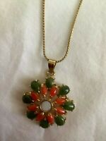 Vintage Floral Pendant made of Jade, Coral & Opal with Gold-tone Necklace