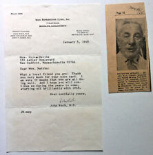 Women's Reproductive Rights Typed Signed Letter DR JOHN ROCK Birth Control Pill