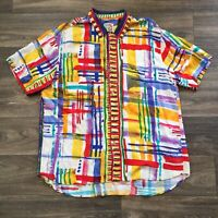 Jams World Mens XL Yellow Red Abstract Brush Strokes Lines Plaid Shirt Vintage