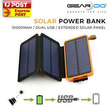 New Solar 10000mAh External Battery Solar Panel Charger Power Bank Phone Tablets