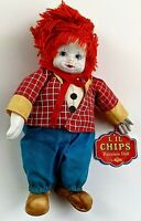 """VINTAGE L'IL CHIPS PORCELAIN DOLL CLOWN BY RUSS, 8"""" TALL, STYLE #1692, W/TAGS"""