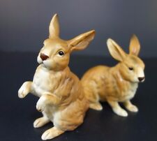 """Lefton Pair of 2 Brown Rabbits Easter Bunny H6664 3.5""""tall & 4""""tall"""
