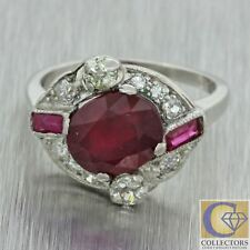 1920s Antique Art Deco Solid Platinum 2.59ctw Red Stone Diamond Cocktail Ring