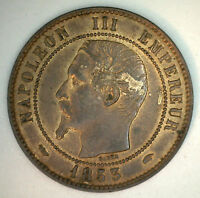 1853 A Bronze France 10 Cent Centimes French Coin AU