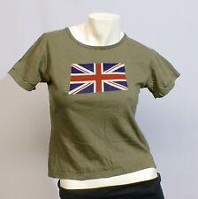 Girlie-Shirt T-Shirt Tee Damen Union Jack grün olive unifarben Baumwolle Gr. M