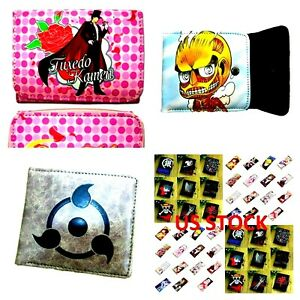 Japanese Anime Wallet Attack On Titan Naruto Angry Sailormoon Black Bulter