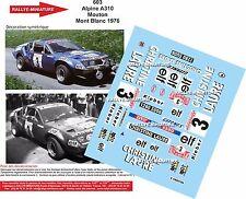 DÉCALS  1/24 réf 603 Renault Alpine 310 Mouton Mont Blanc 1976