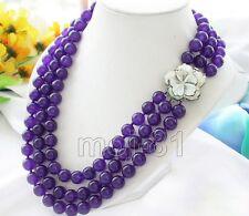 "Round Beads Necklace 17-18"" Aaa Beautiful Natural 8mm Purple Jade Gemstone"