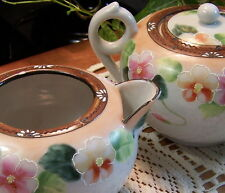 Set NIPPON Sugar Creamer Stamped CHERRY BLOSSOM Hand Painted ANTIQUE 1891-1921