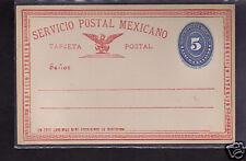 Mexico 5c Postal Stationery Postcard 1890's