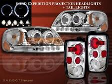1997-02 Ford Expedition Halo Projector Headlights Chrome+ Tail Lights Chrome NEW