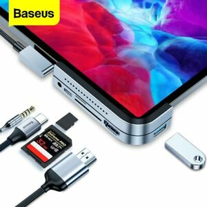 Baseus 6in1 USB C HUB USB3.0 HDMI PD Ethernet Adapter Splitter for Macbook Pro