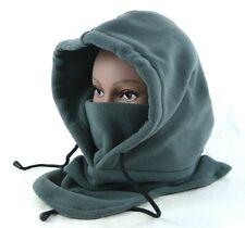 Premium Gray Grey Fleece Hood and Face Mask for Winter Snow Sports Events Concer