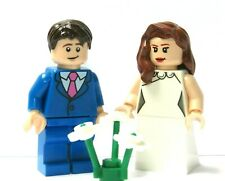 Lego Flesh Bride Minifigure Brown Hair & Groom Blue Suit Pink Tie    Wedding