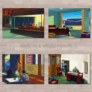 Edward Hopper A4 canvas paper / poster art prints. Americana, Social Realism.