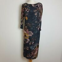 Phase Eight Midi Dress UK 18 Grey Floral Long Sleeve Ruched Waist Stretch Lined