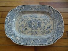 Antique LS & S GORDON NO. 26100 Blue Earthenware Large Platter Aesthetic