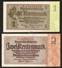 GERMANY 1 2 Rentenmark Set 2 PCS, 1937, P-173b 174b, UNC