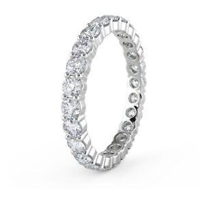 CLEARANCE..! Hallmarked Platinum & F/VS 1.30ct Round Diamond Full Eternity Ring