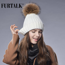 New Real Fur Hat Knitted Real Big Raccoon Pom Pom Hat Women Winter Hat