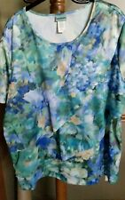 Sara Morgan Plus Size XX Watercolor Floral Layered SS Top