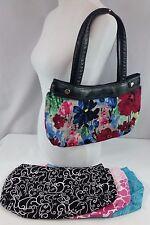 Thirty-One 31 Black Skirt Purse w/ 4 Skirt Lot Watercolor/Swirl/Giraffe/Paisley