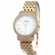 NEW-FOSSIL EMMA ROSE GOLD TONE BAND+MOP+ROMAN NUMERALS+CRYSTAL DIAL WATCH-ES3186