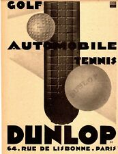 AUTOMOBILE FRENCH MAG AD DUNLOP TIRES GOLF TENNIS