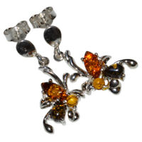 4.2g Authentic Baltic Amber 925 Sterling Silver Earrings Jewelry N-A8278B