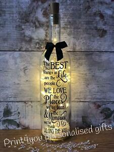 The best things in life light up wine bottle gift for friends birthday Christmas