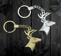 New Deer Head With Antlers Metal Hunting Gold Silver Keychain Key Chain