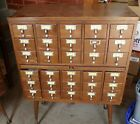 Vintage Mid Century Modern 30 Drawer Wooden Library Card Catalog Cabinet W/ Legs
