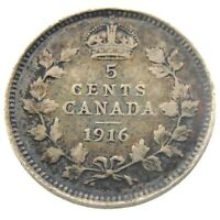 1916 Canada 5 Cents Small Silver Circulated George V Five Cents Coin P451