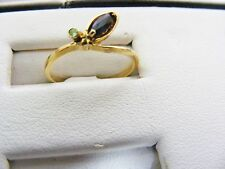 Marques Sapphire and mini Diamond Ring 18k solid yellow gold band