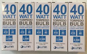 [5 Pack] Lumin 40 Watt Torpedo Chandelier Bulb Frosted Candelabra Base B10 32 mm