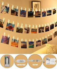 Led Photo Clip String Lights,5m 20 Warm White Picture Hanging Lights