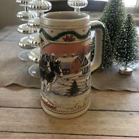 Budweiser 1996 American Homestead Beer Stein Christmas In Excellent Condition