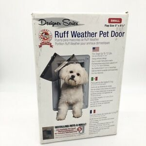 All-Weather Pet Door with Telescoping Frame Clear Vinyl Flaps, SMALL