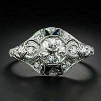 Antique Art Deco Engagement Wedding Ring 2 Ct Round Diamond 925 Sterling Silver