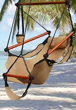 Indoor/Outdoor Hanging Hammock Chair Air/Sky Swing Chair Solid Wood 250 lbs Tan