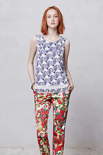 Kelly Poppy Pants Trousers Floral Crops By San & Soni Anthropologie, Size 6