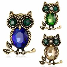 Lovely Retro Owl Sapphire Crystal Rhinestone Glass Brooch Pin Womens Mother Gift