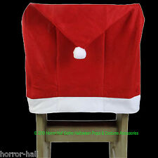 Christmas Holiday Party RED SANTA HAT CAP CHAIR COVER Kitchen Dining Decorations