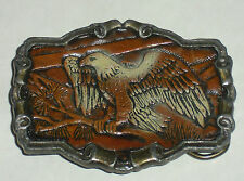 """1980 Pewter & Leather Eagle on Branch Great American Buckle Co for 2"""" Belt"""