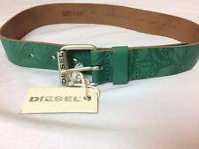 NWT $90 Diesel Men Green Leather Floral Hawaiian Vacation Belt Size 25 Medium